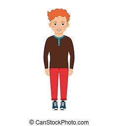 cabelo, menino, camisa, vermelho, marrom