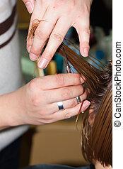 cabelo molhado, corte, salão, cabeleireiras, close-up