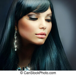 cabelo moreno, girl., maquilagem, feriado, saudável, longo, bonito