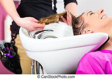 cabelo, mulher, lavando, cabeleireiras