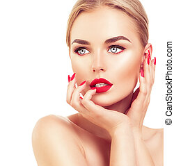 cabelo, mulher, loura, pregos, vermelho, bonito, batom, modelo moda