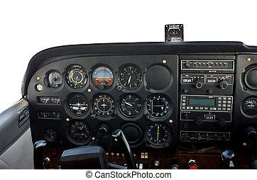 cabina piloto, luz, avião