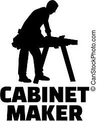 cabinetmaker, trabalho, silueta, título