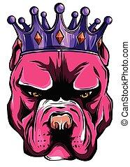 cachorro branco, vetorial, ilustração, rei, fundo