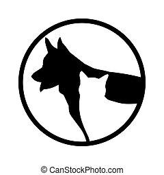 cachorros, simples, imagem, gato, vetorial, experiência preta, círculo, branca