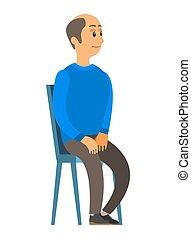 cadeira, illustration., idoso, senta-se, homem, antigas, cabeça, pessoa, calvo, vetorial, mãos, joelhos