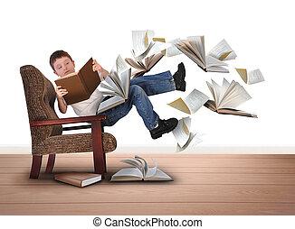 cadeira, leitura menino, livros, voando, branca