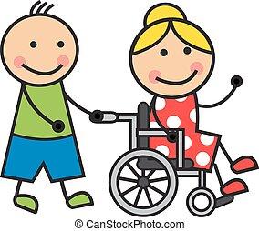 cadeira rodas, mulher, caricatura