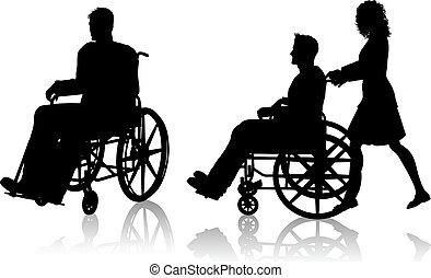cadeira rodas, mulher, homem