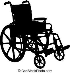cadeira rodas, silueta, branca, isolado