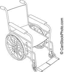 cadeira rodas, vetorial, esboço