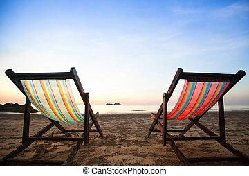 cadeiras, praia, mar, coast.