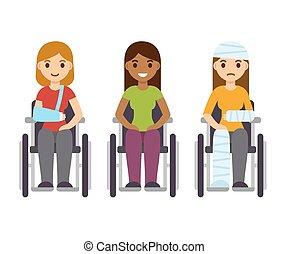 cadeiras rodas, jogo, mulheres