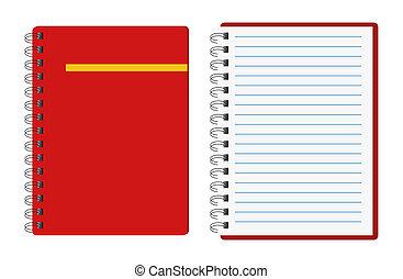 cadernos, vermelho