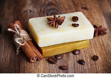 café, anis estrela, feito à mão, canela, feijões, sabonetes