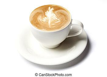café, barista, copo, sobre, isolado, branca