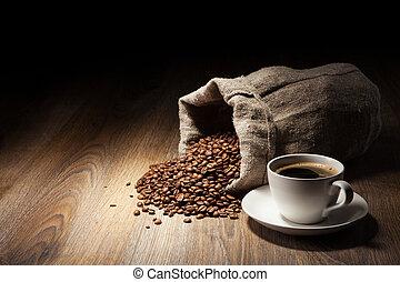 café, burlap, copo, saco, rústico, feijões, assado, tabela