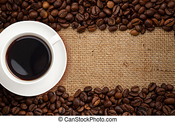 café, burlap, fundo, copo