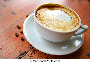 café, cappuccino, feijões, espumoso, copo