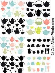 café chá, vetorial, potes