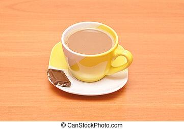 café, chocolate, amarelo quente, copo