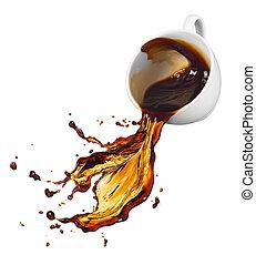 café, derramando