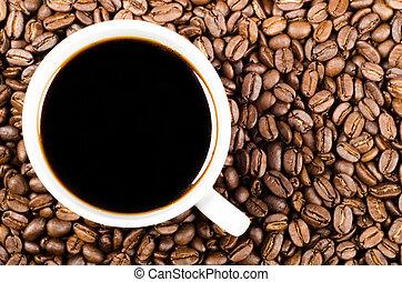 café, espaço, filtro, feijões, pretas, cópia