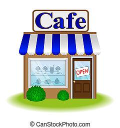 café, fachada, ícone, vetorial