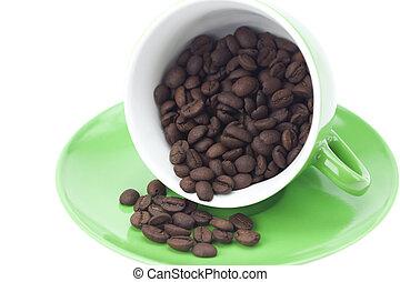 café, feijões brancos, isolado, copo
