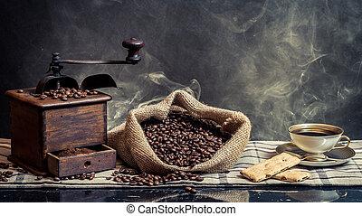 café, fundo, vindima, brewing, fumaça, cheiro