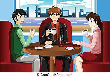 café, reunião, pessoas negócio