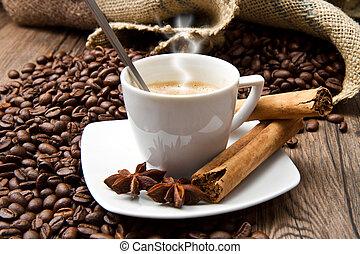 café, saco, feijões, copo, tabela, assado, burlap, rústico