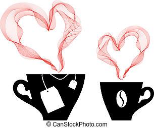 café, vetorial, chá
