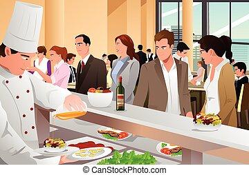 cafeteria, comer, pessoas negócio