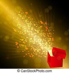 caixa, aberta, presente, valentine, voando, ilustração, vetorial, corações, card.