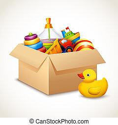 caixa, brinquedos