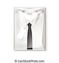 caixa, camisa, clássicas, homens, etiqueta, embalagem, laço preto, branca, transparente