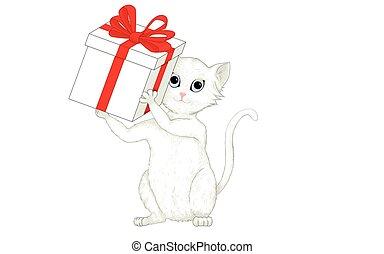 caixa, cute, presente, gato cinzento, vermelho, segurando, fita branca