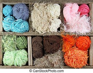 caixa, fios, madeira, coloridos, muitos