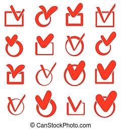 caixa, jogo, ícones, vetorial, cheque, vermelho