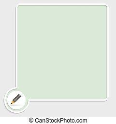 caixa, lápis, vetorial, verde, texto