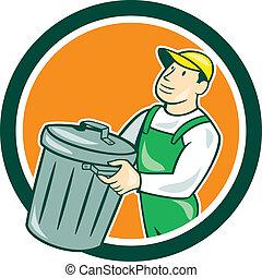caixa, lixo, carregar, círculo, cobrador, caricatura