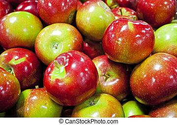 caixa, maçãs, mercado