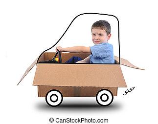 caixa, menino, branca, dirigindo, car