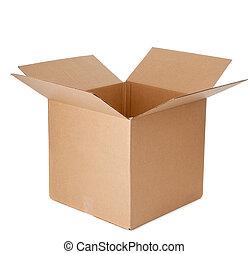 caixa, papelão, abertos, vazio