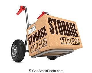 caixa, papelão, armazenamento, -, mão, truck.