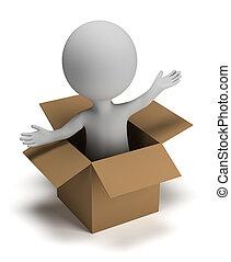 caixa, pequeno, 3d, pessoas