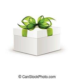 caixa, quadrado, presente, luz, isolado, arco, vetorial, experiência verde, fita branca