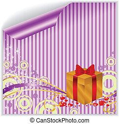 caixa, roxo, adesivo, ouro