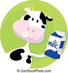 caixa, verde, vaca leite, feliz